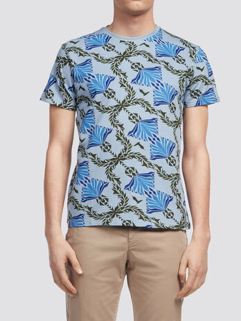 Pique T shirt with decorative geometric design