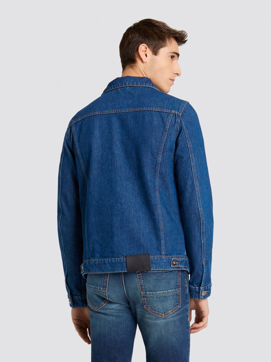 Slim fit denim jacket with patch on the back