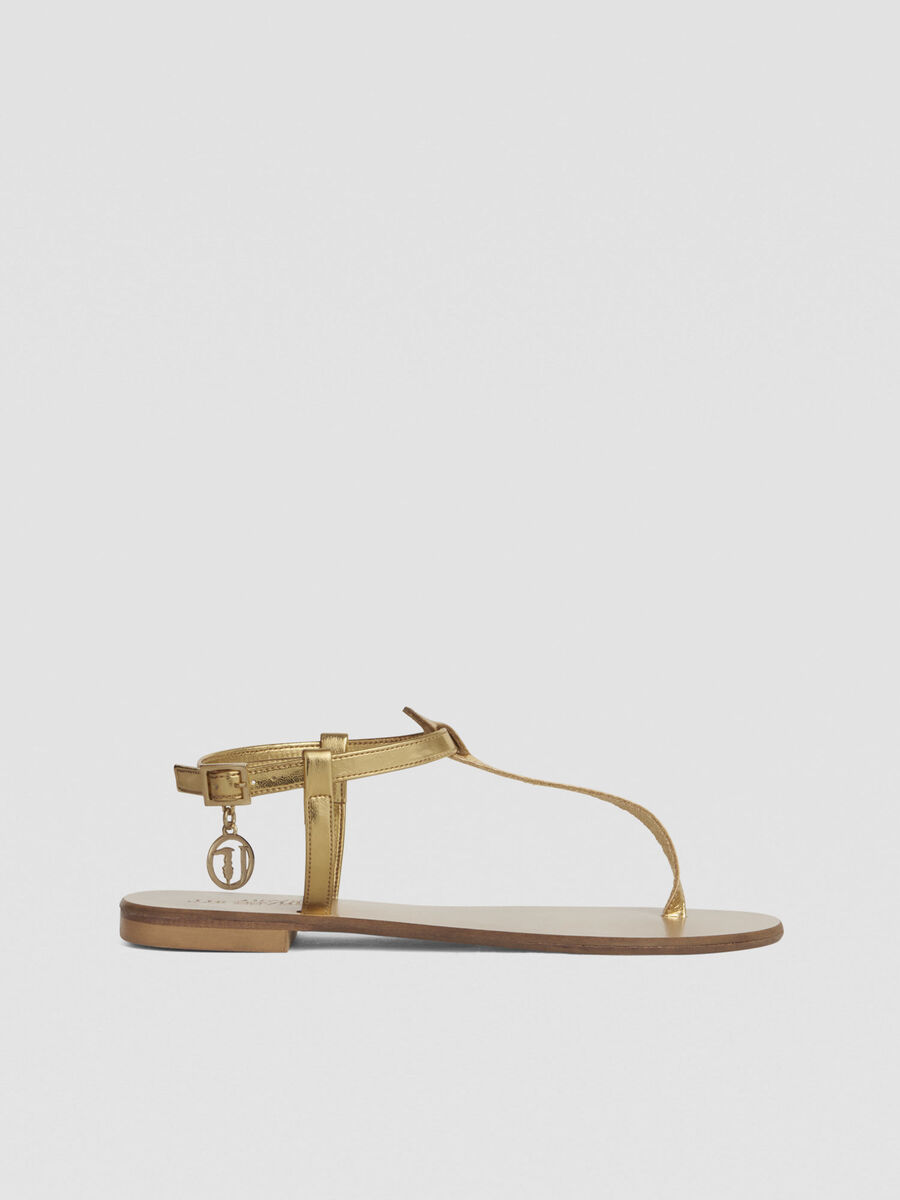 Laminated leather thong sandals