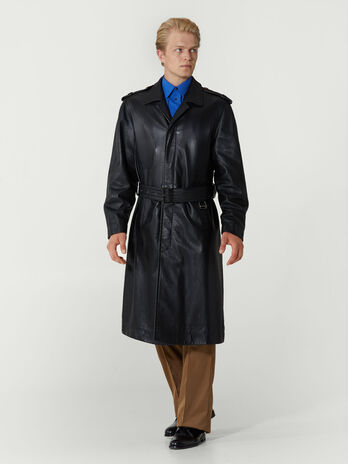Regular fit belted leather trench coat