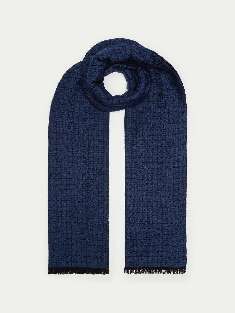 Pure wool geometric scarf