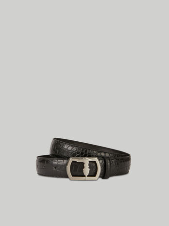 Crocodile-print leather belt