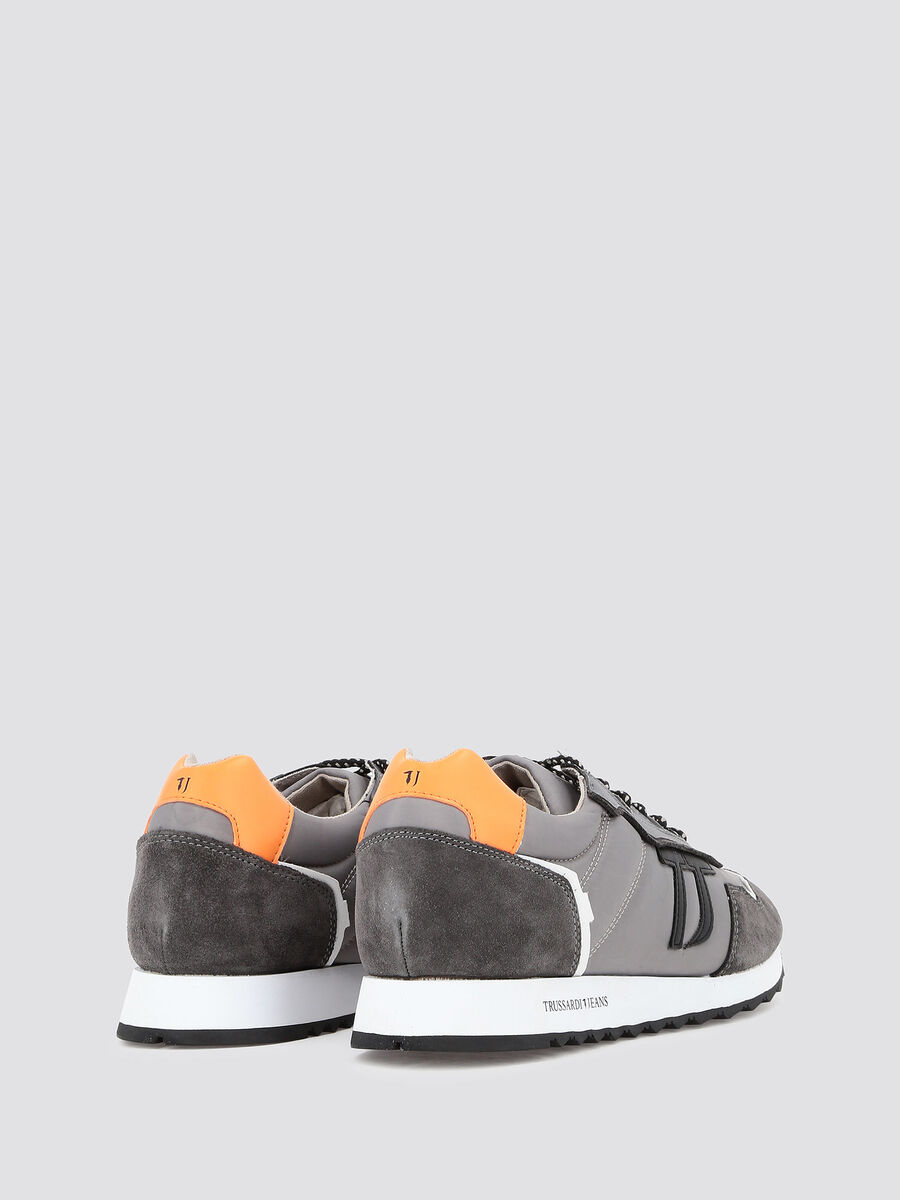 Crespo leather and waxed nylon running sneakers