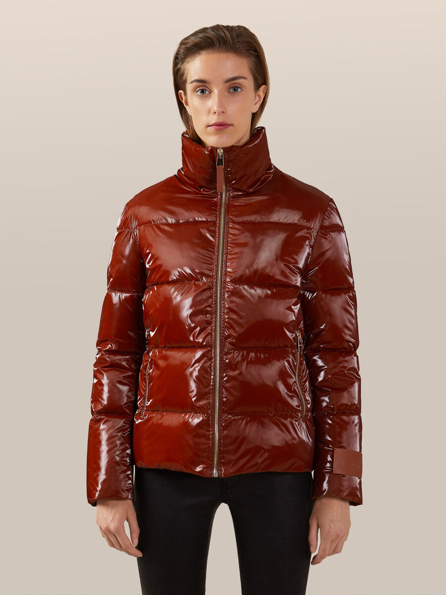 Glossy nylon down jacket with a high neck