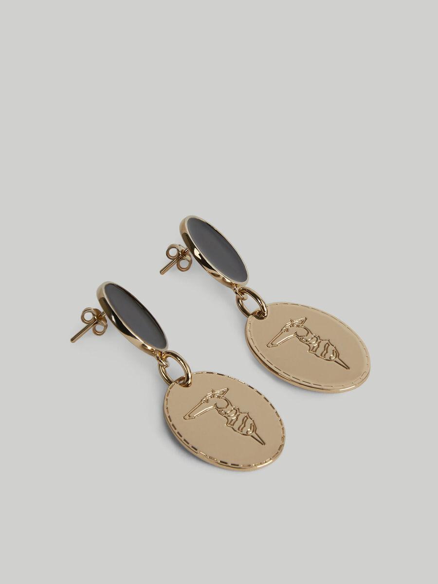 Metal earrings with monogram pendants