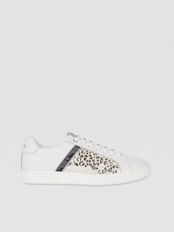 Animal print leather and suede sneakers