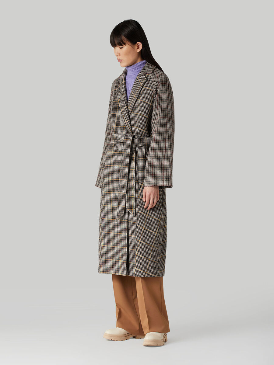 Belted chequered wool-blend coat