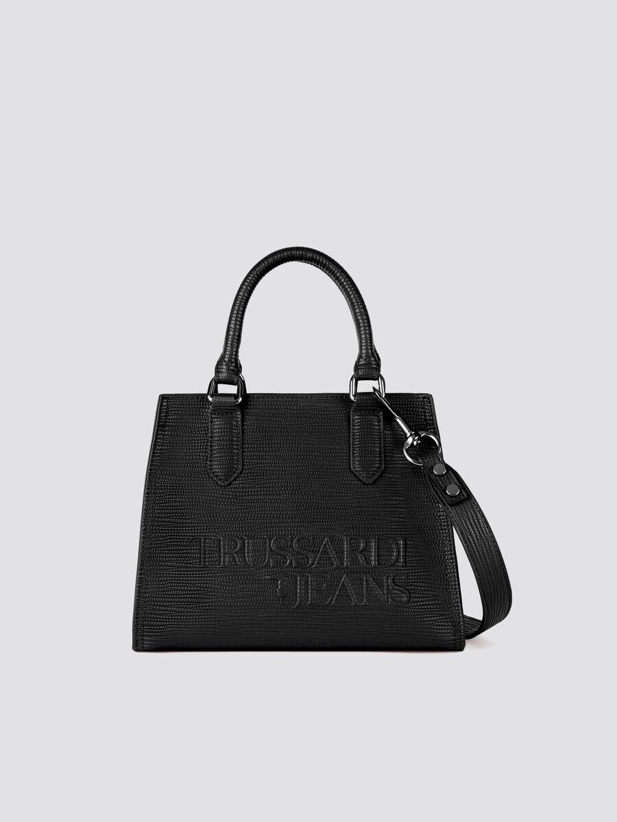 Small T-Tote bag in solid colour saffiano