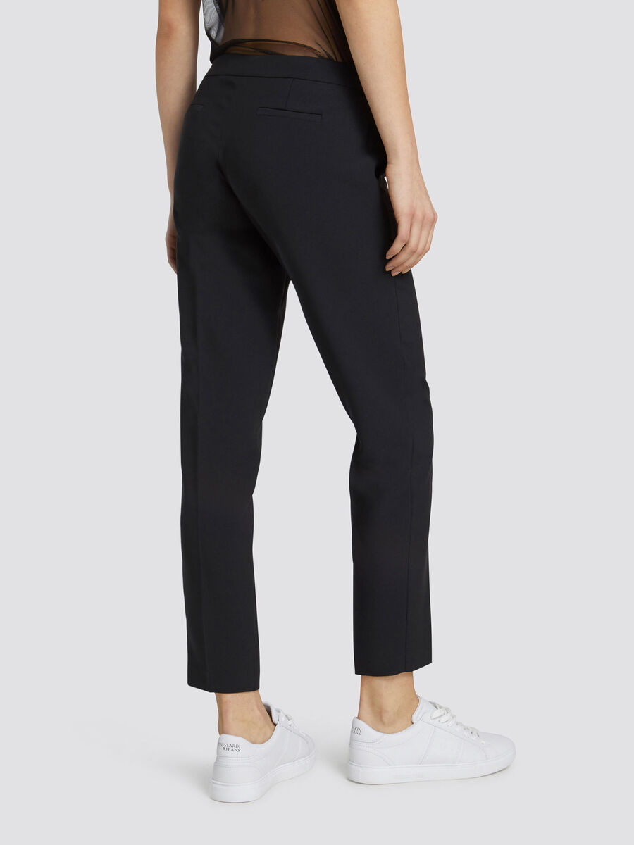 Regular fit cigarette trousers in technical fabric