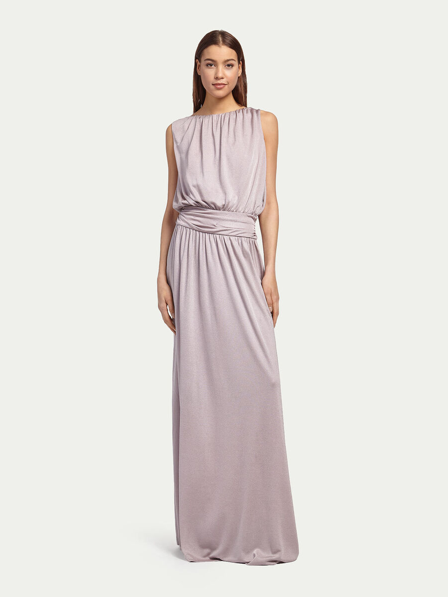 Jersey dress with pleating