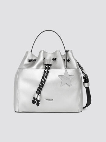 Small T-Easy Star bucket bag in faux leather with charm