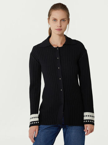 Ribbed wool cardigan
