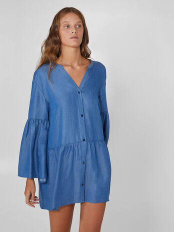Mini robe en denim tencel