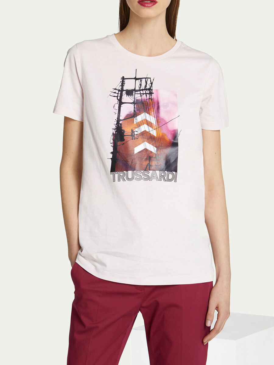 Camiseta de corte regular de punto de algodon