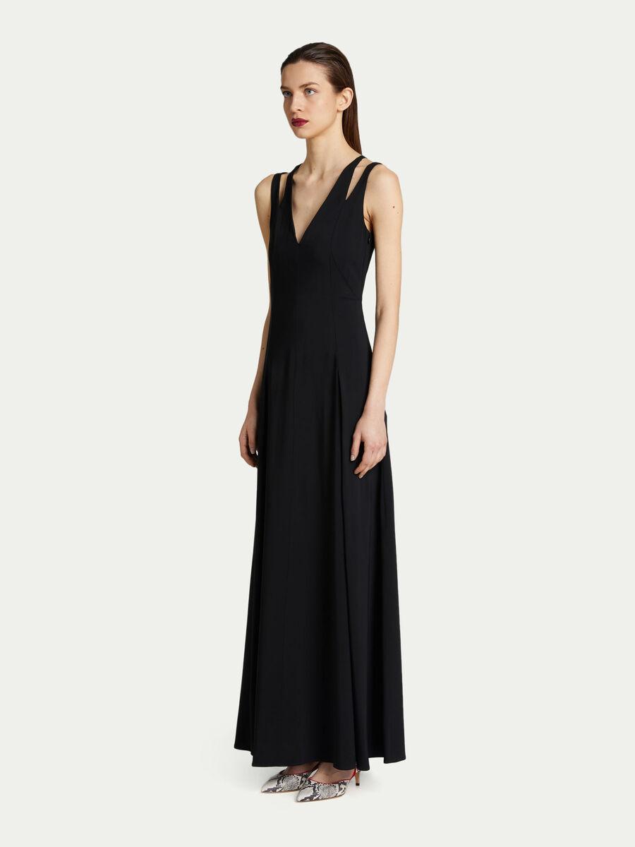 Vestido largo de crepe de viscosa en color liso