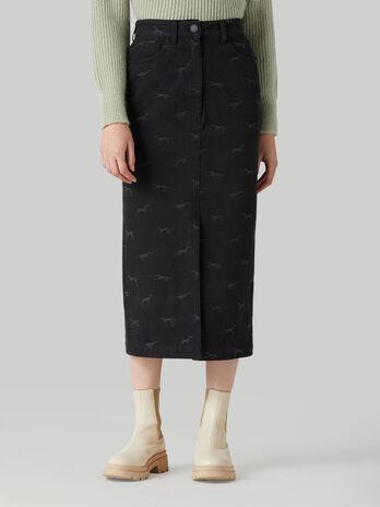 Jacquard denim pencil skirt