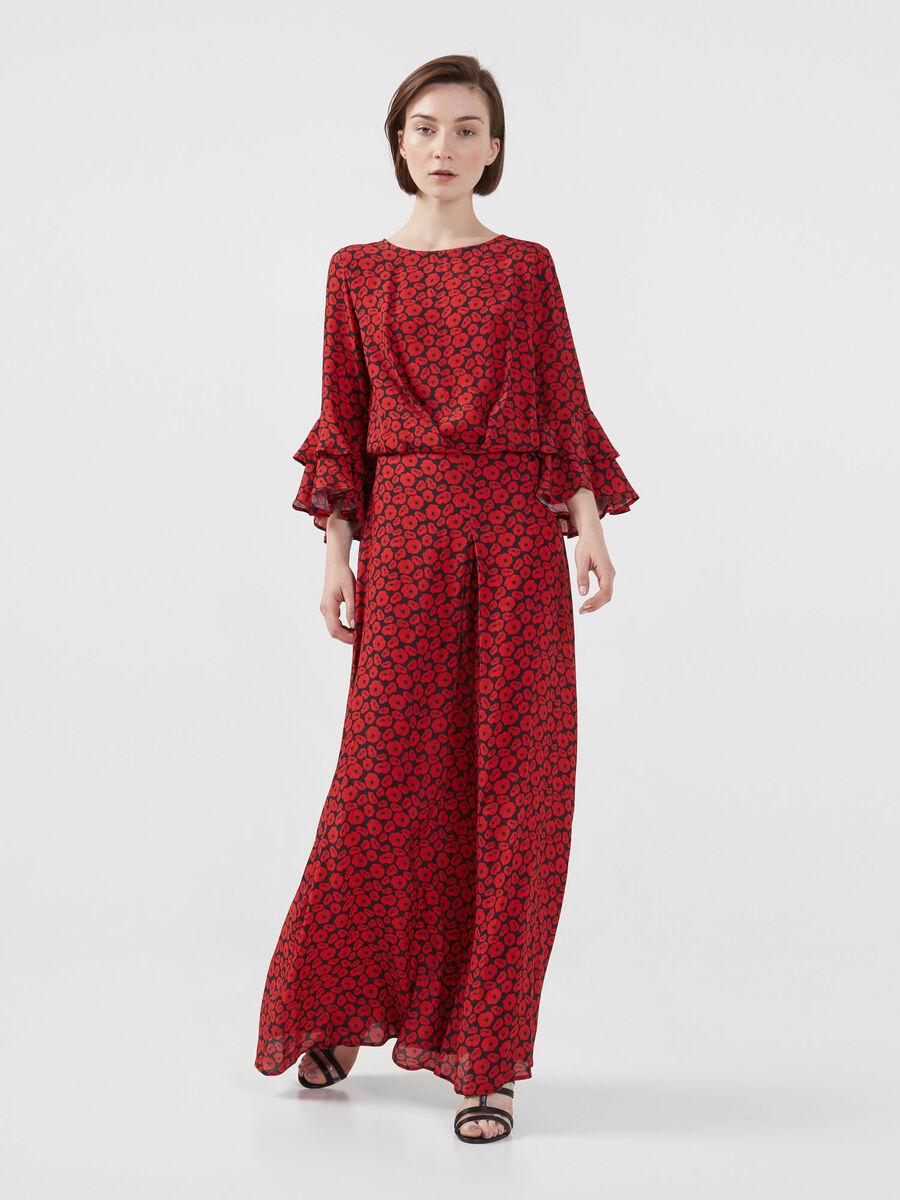 Langes Kleid aus bedrucktem Viskosekrepp