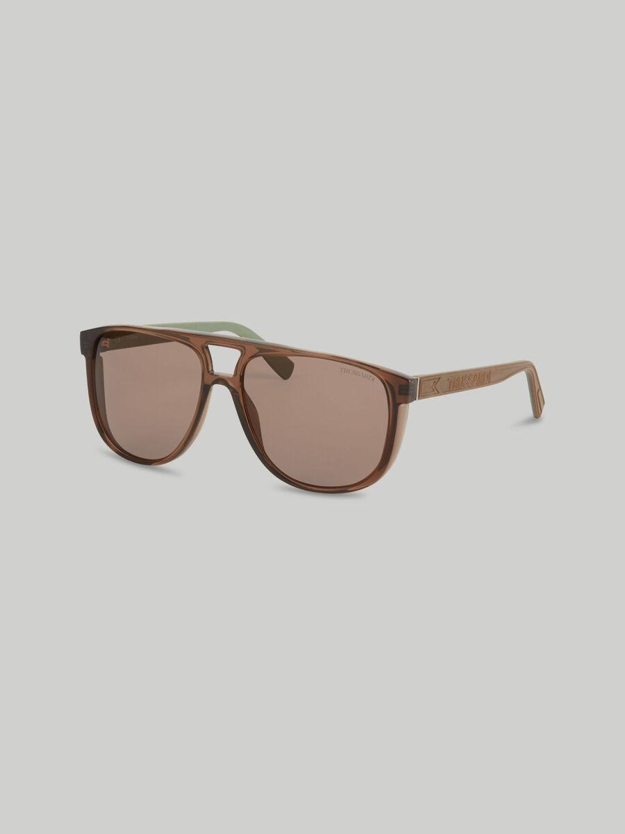 Sonnenbrille mit seitlichen Spoilern