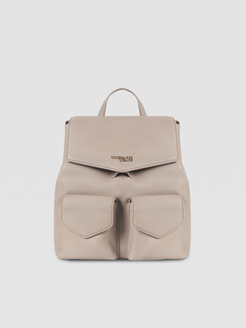 Medium faux leather Charlotte backpack with two pockets