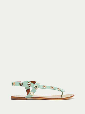 Thong sandals with eyelets