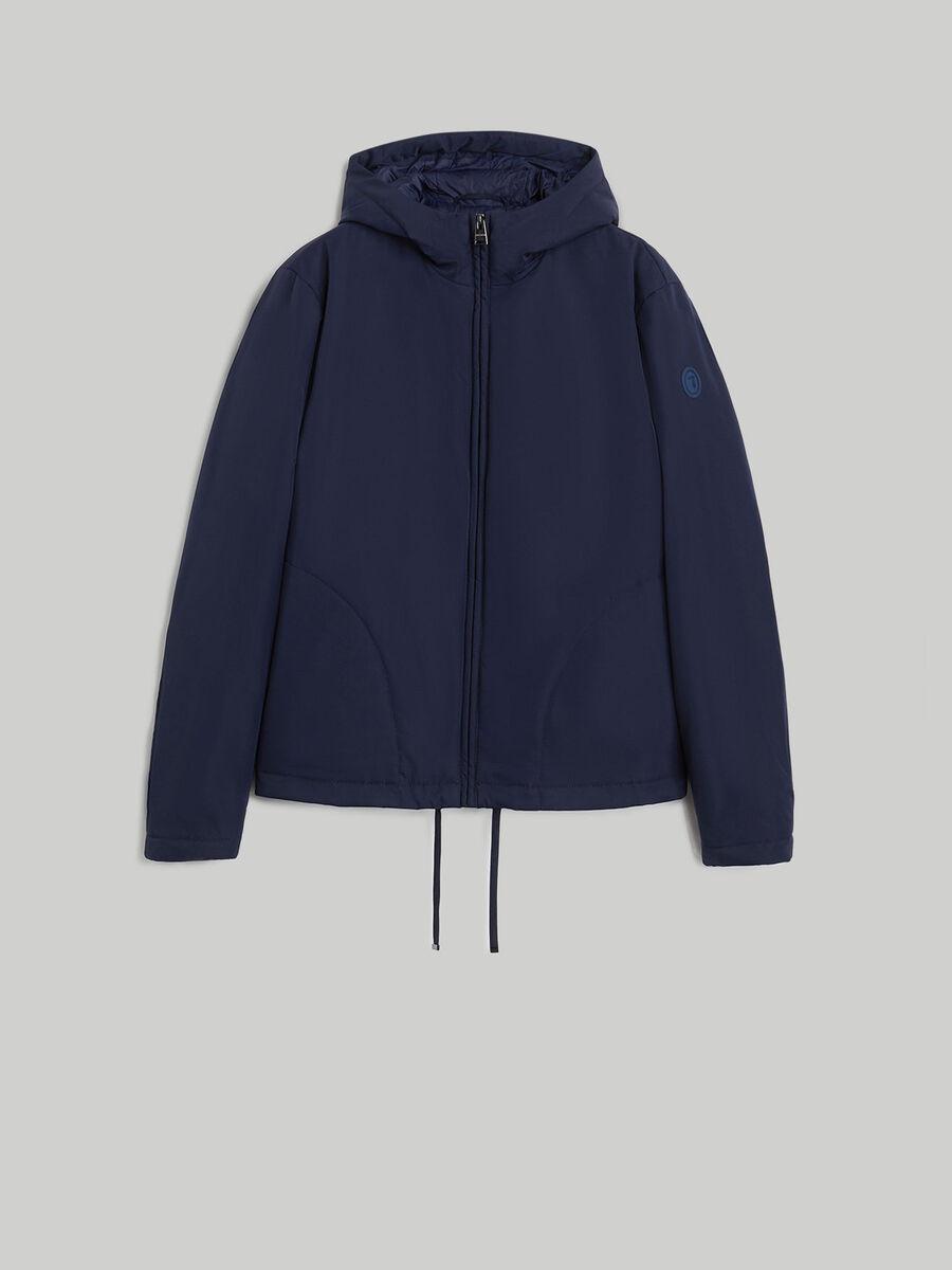 Technical fabric jacket with hood