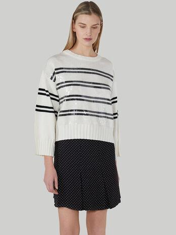Pullover boxy fit in cotone e lana