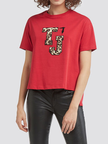 Melange Optik T Shirt Logo Patch asymmetrischem Saum
