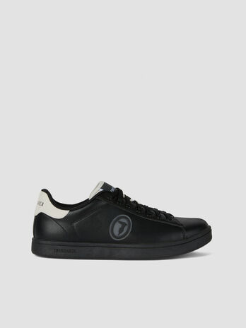Faux leather sneakers with logo