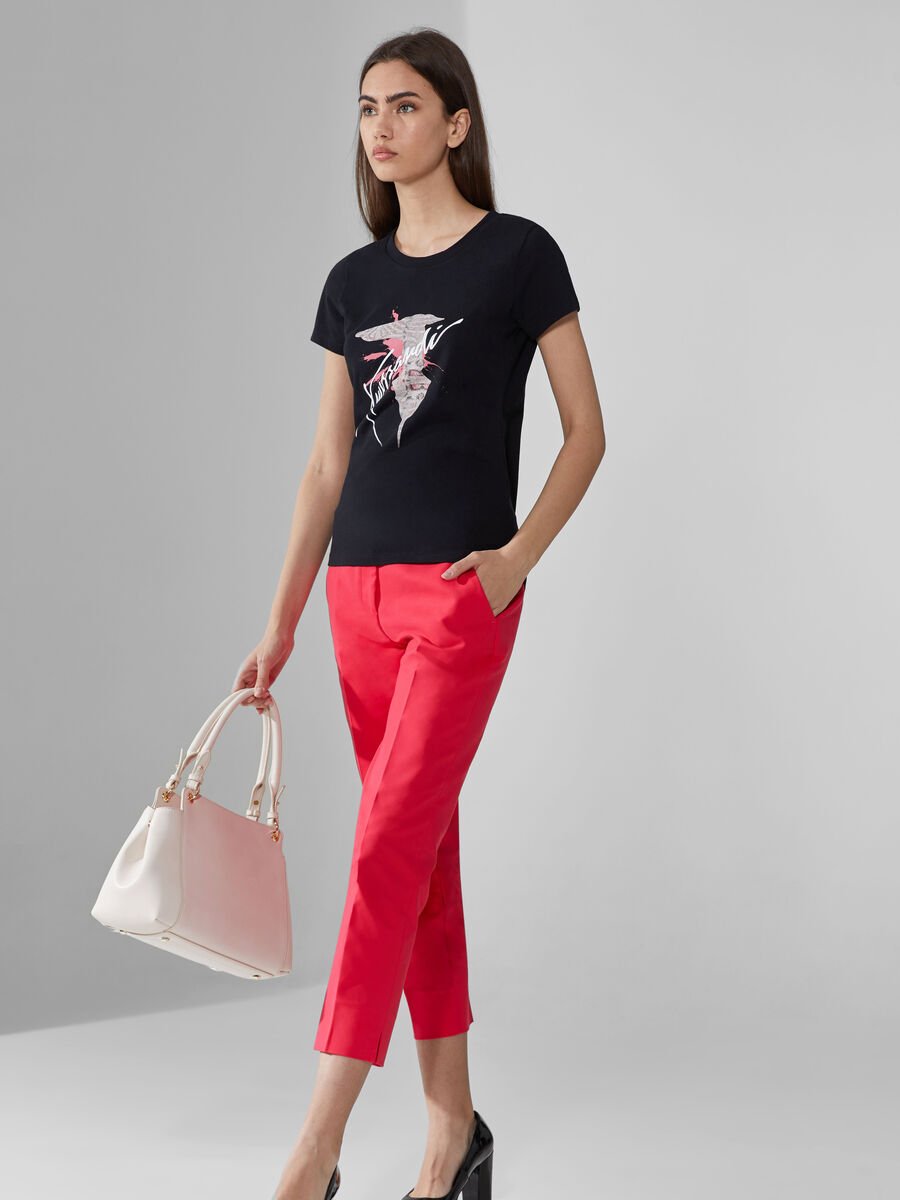 Slim-fit cotton T-shirt with bold logo