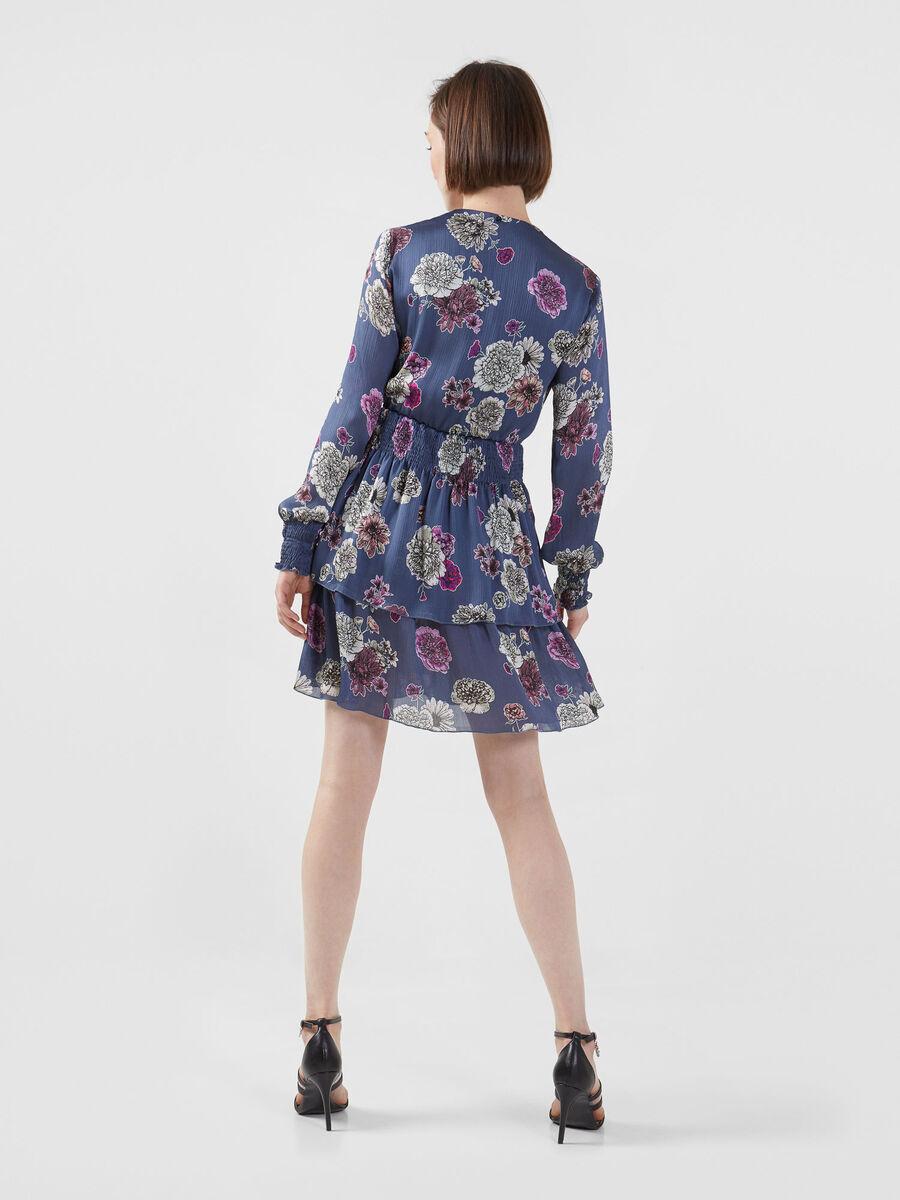 Robe courte en satin leger imprime