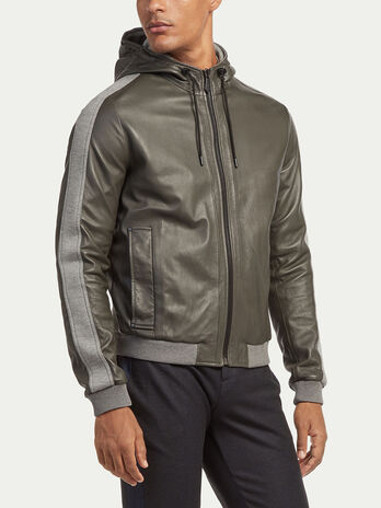 Regular fit fleece and leather jacket