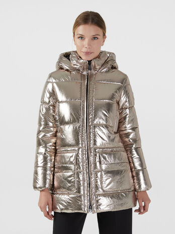 Padded regular fit parka in metallic nylon