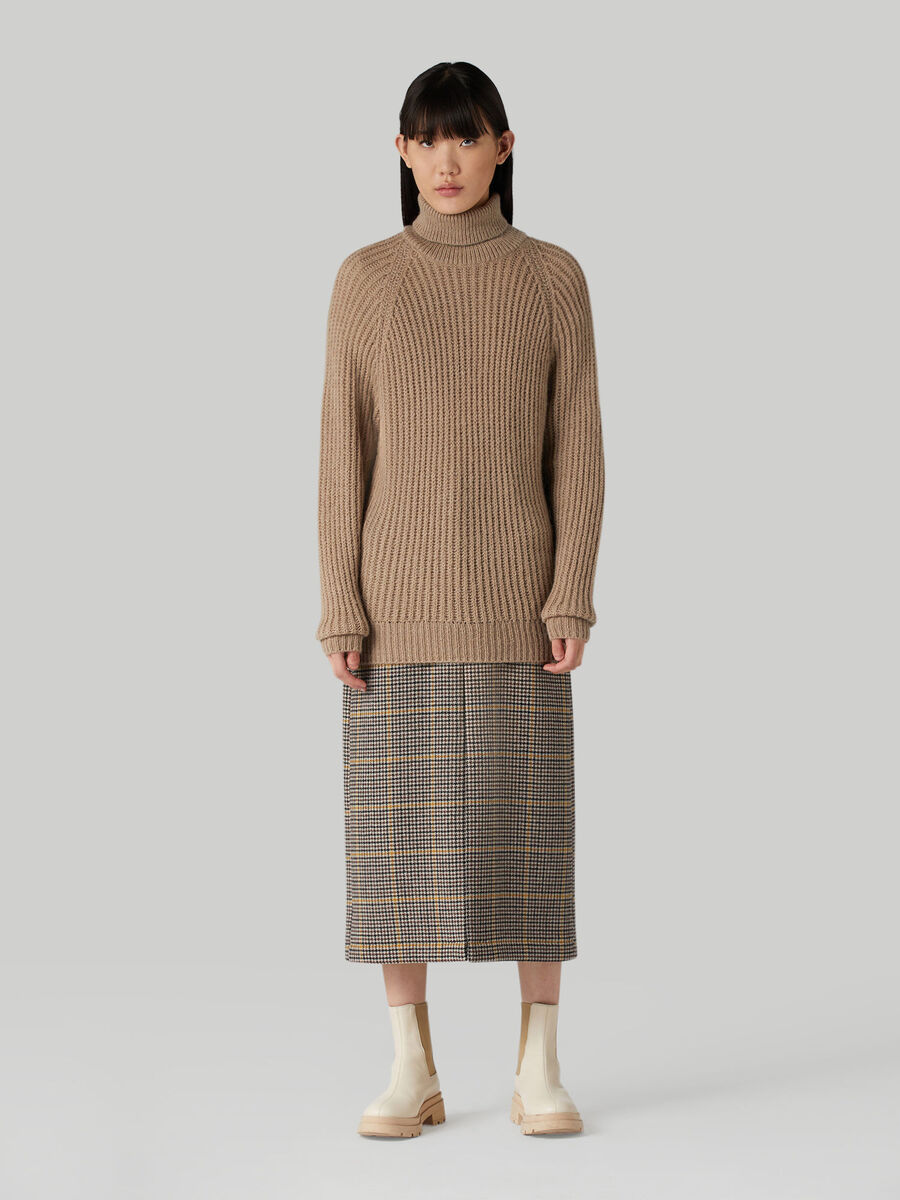 Chequered wool-blend pencil skirt