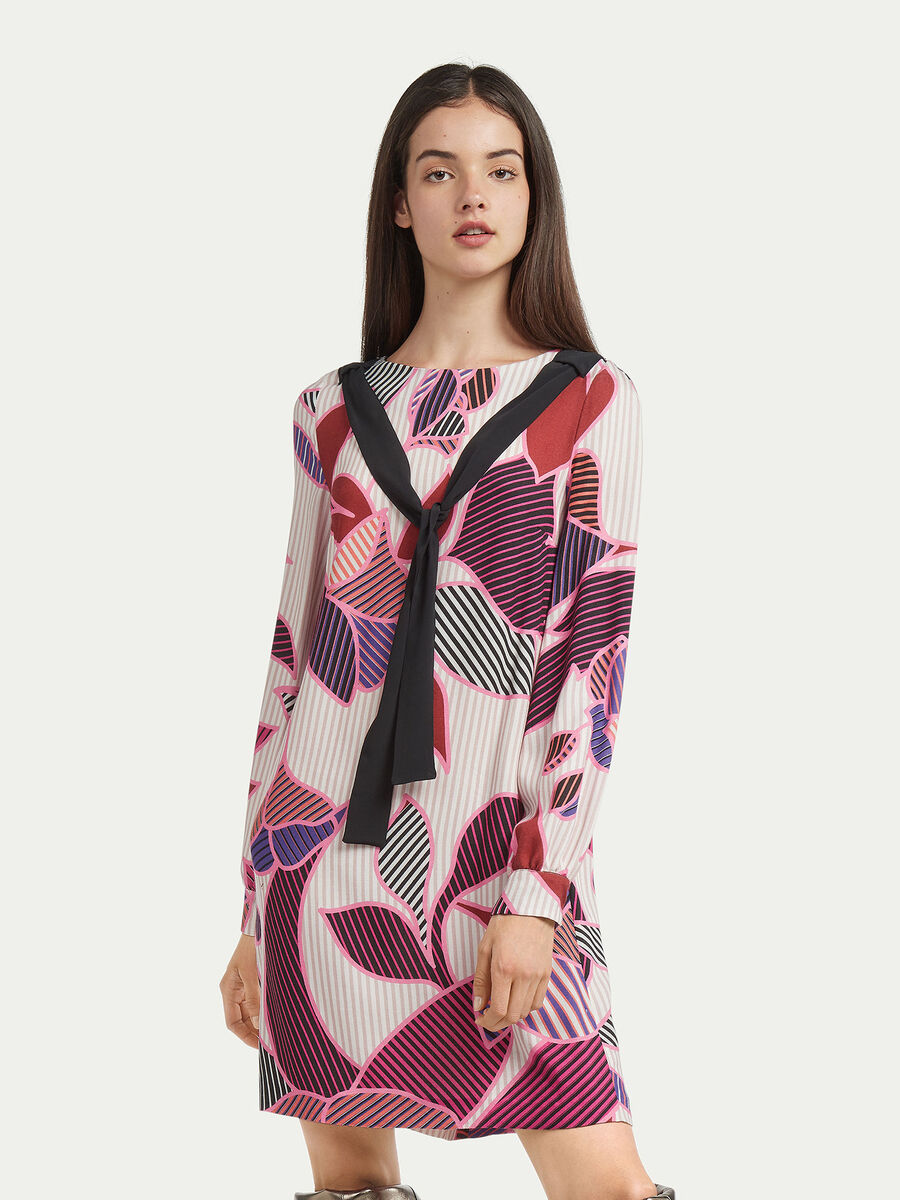 Graphic print wool dress