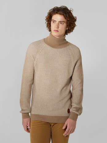 Regular fit two tone wool polo neck pullover