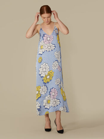 Long viscose dress with floral print