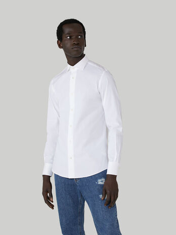 Slim-fit cotton poplin shirt