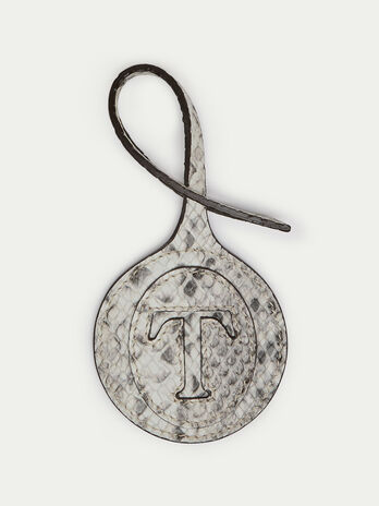 Branded round charm in python print Crespo leather
