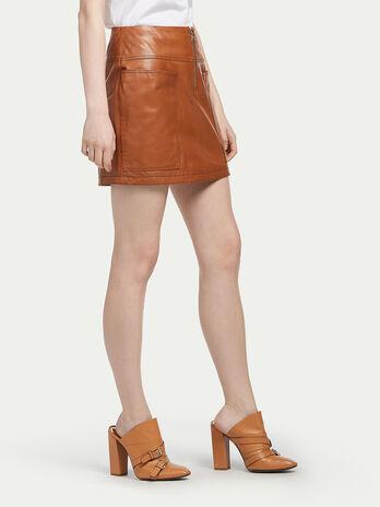 Lambskin miniskirt with stitching
