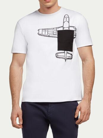 T Shirt aus Interlock mit Nieten und Flugzeug
