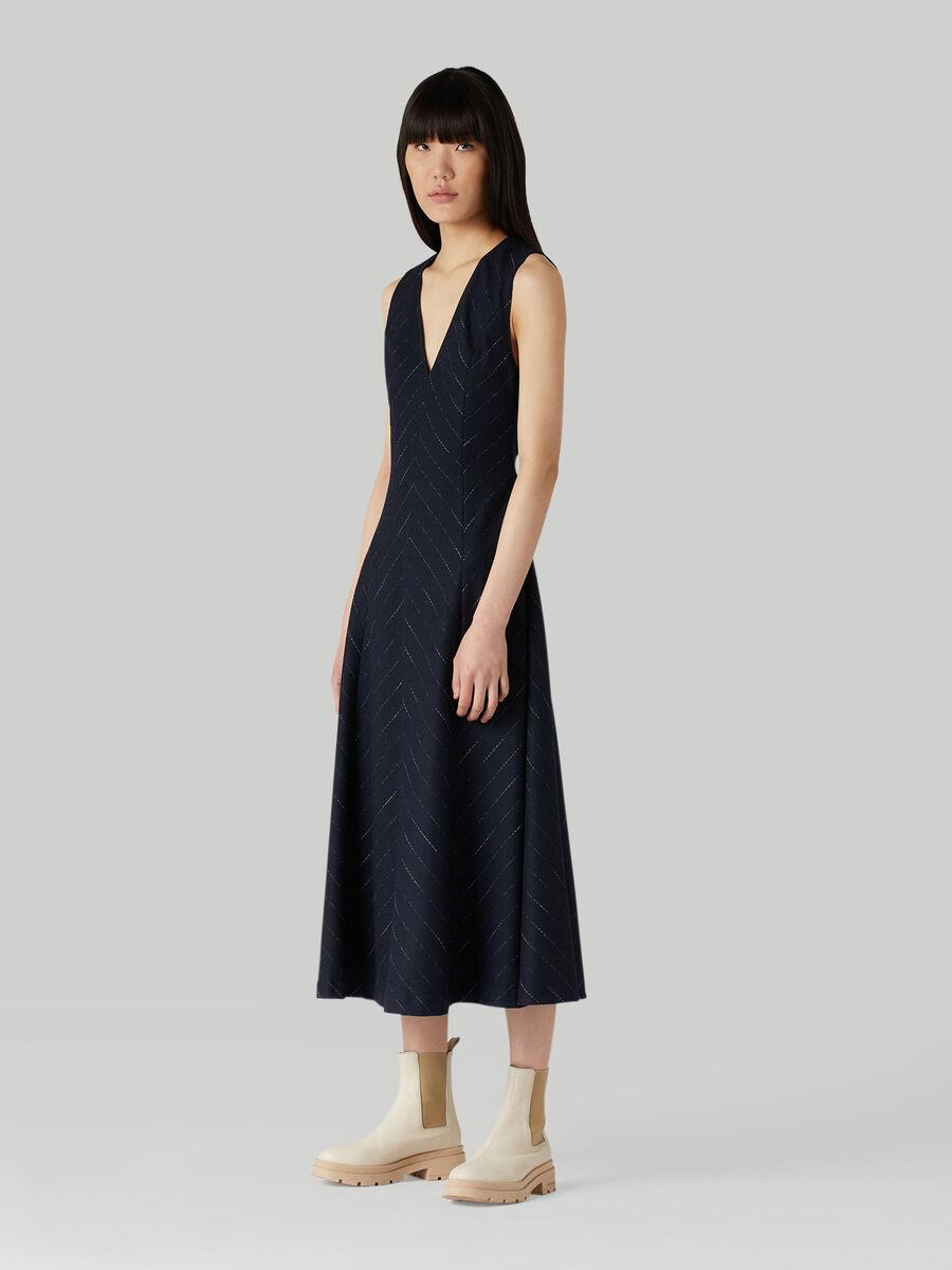 Pinstripe wool-blend dress