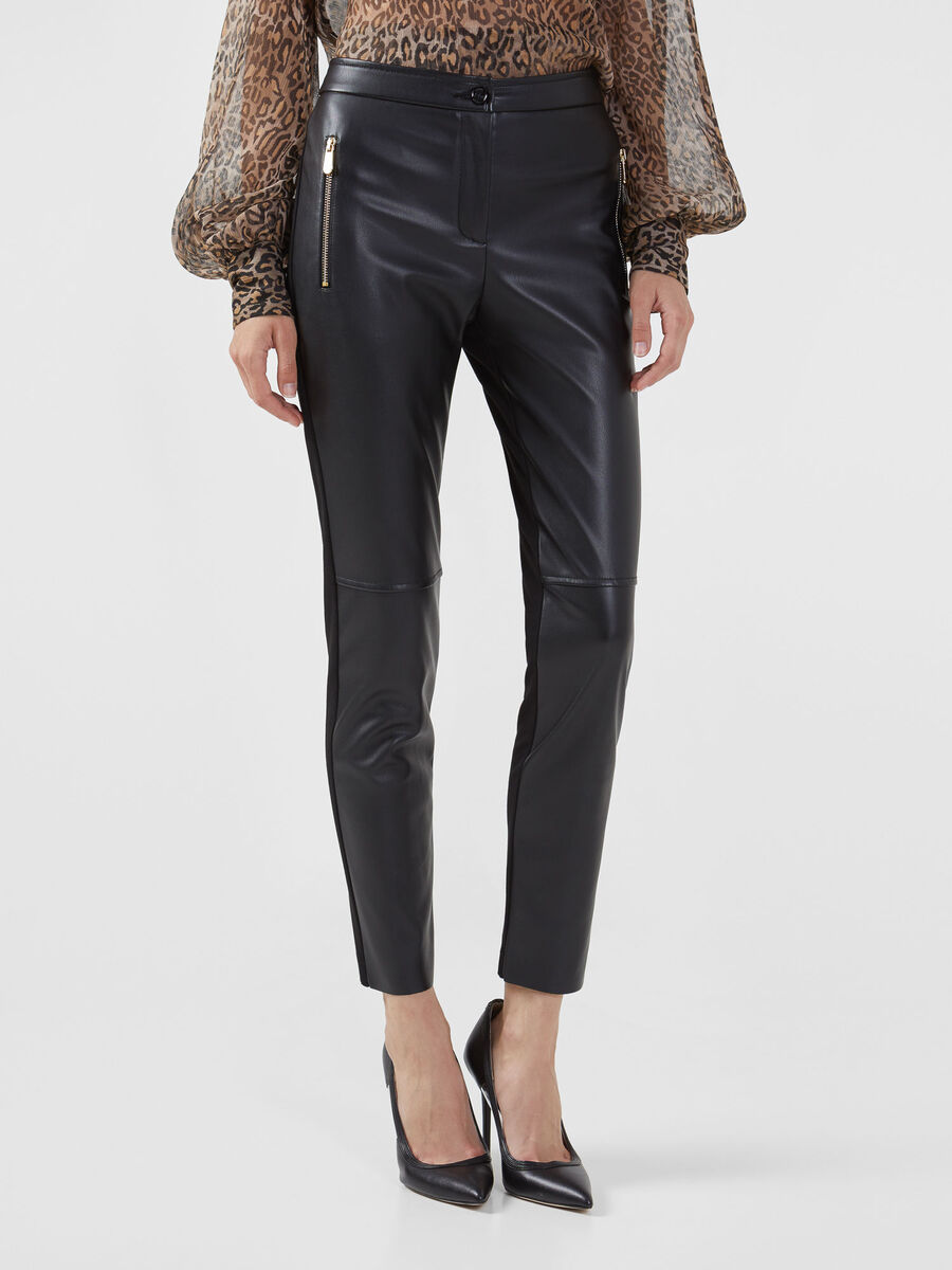 Faux leather and jersey trousers