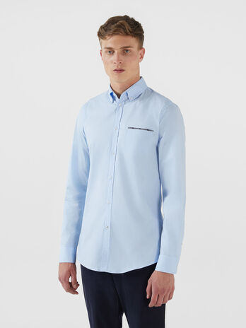 Cotton poplin shirt with breast pocket and ribbon