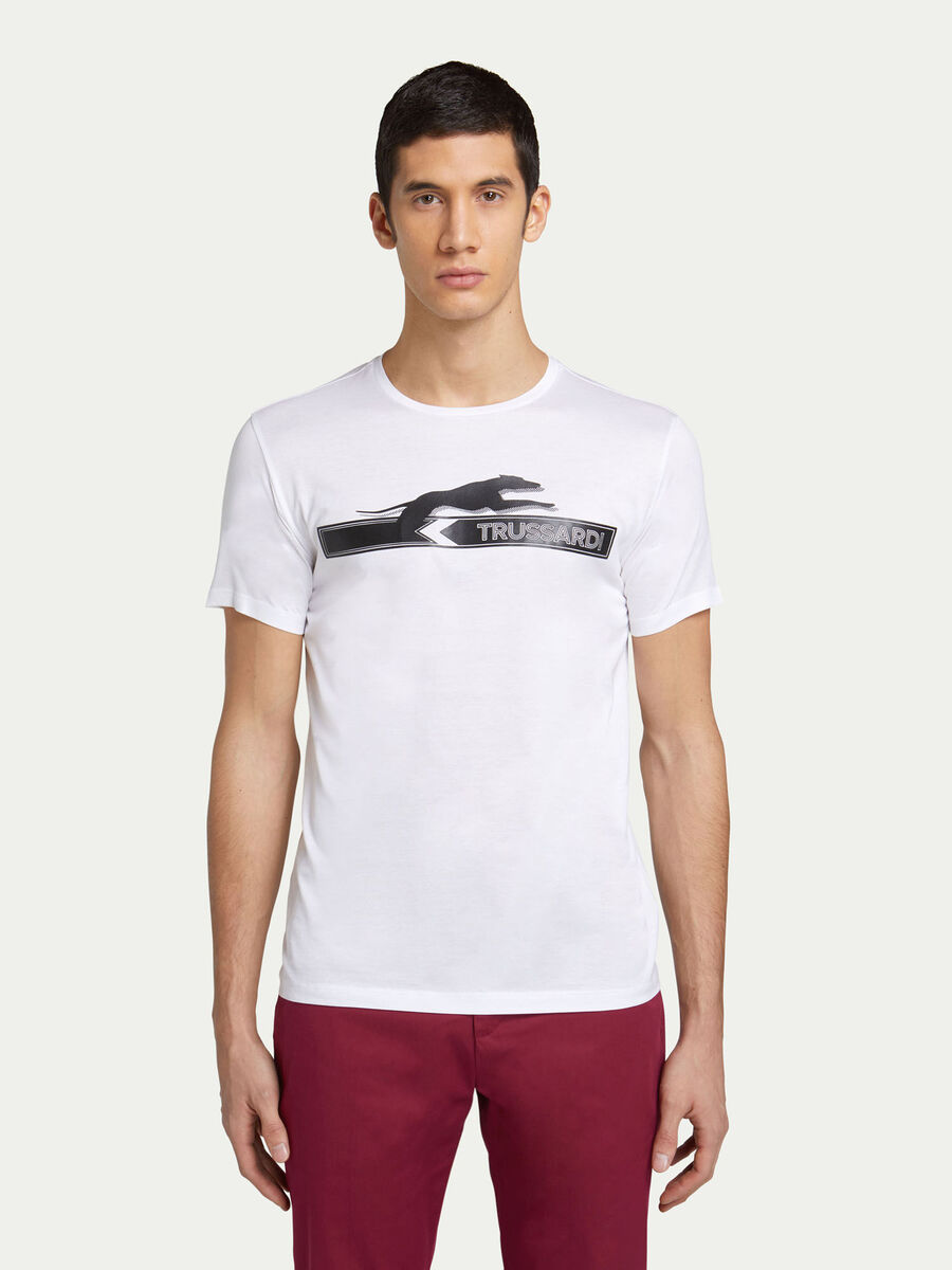 T shirt regular fit in jersey con lettering e logo