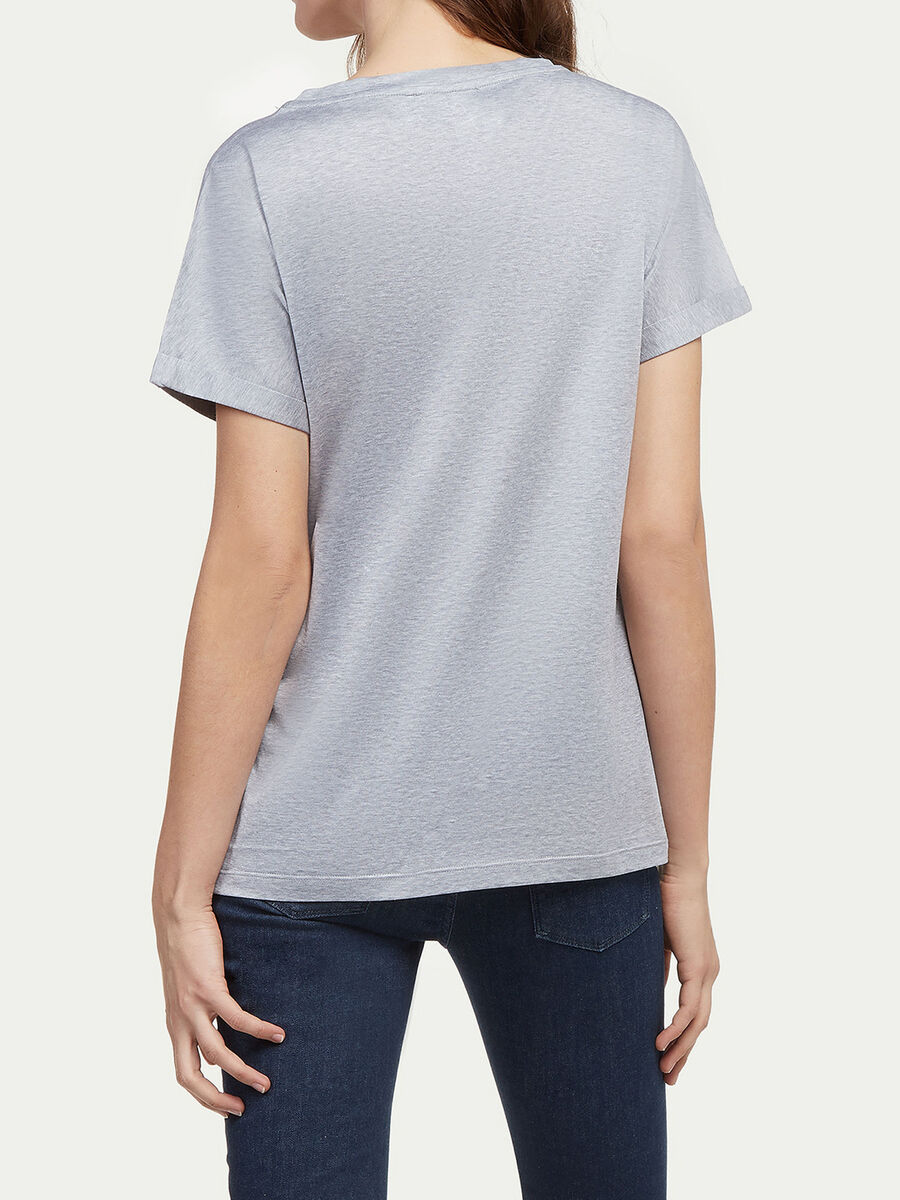 Jersey T shirt with floral embroidery