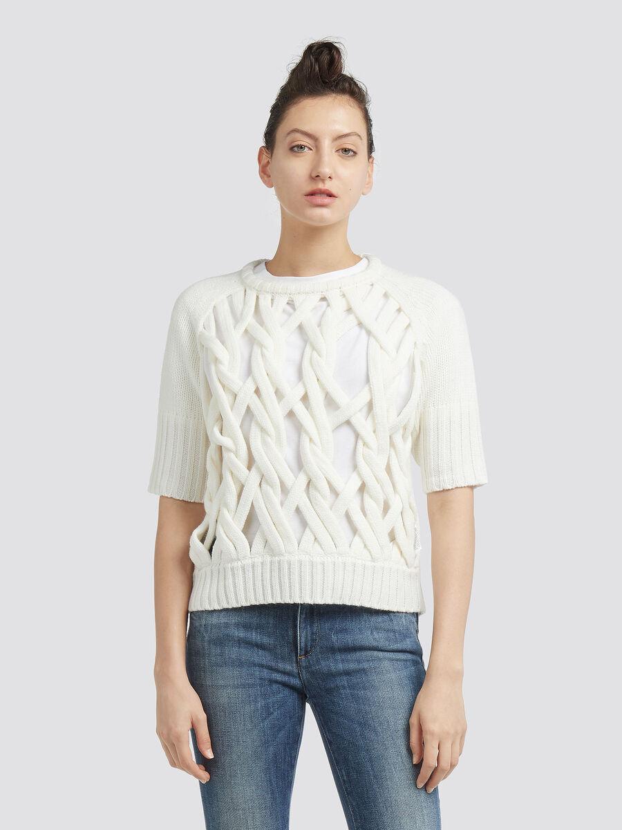 Crop Pullover aus Wolle mit offener Strickarbeit