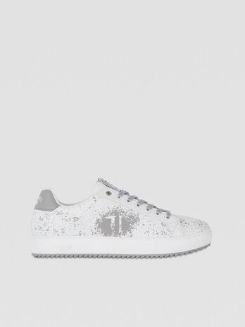 Splatter-print faux leather sneakers