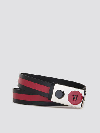 Two tone leather With Love belt with branded buckle