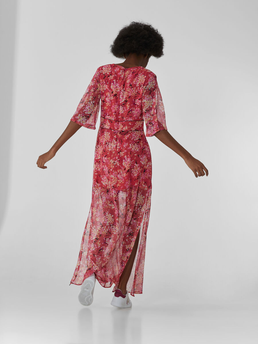 Long Georgette dress with floral print