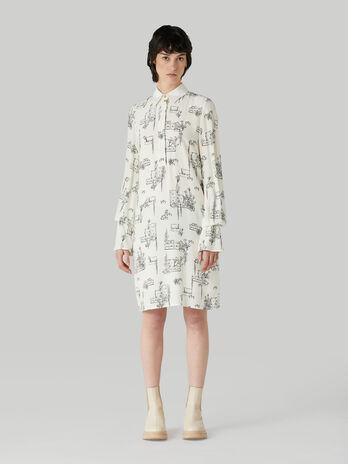 Robe courte en viscose a imprime travel